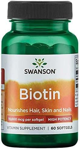 Swanson Super Strength Biotin 10Vitamin 000 mcg 60 Sgels