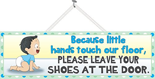 Take Off Your Shoes Baby Sign with Dark Haired Boy in Diaper & Polka Dot Border - Fun Sign Factory Original Nursery Décor