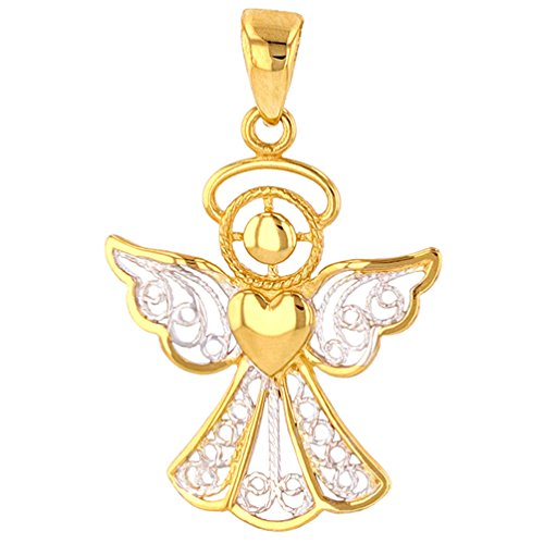 Jewelry America Polished 14K Gold Filigree Angel with Heart Charm Pendant