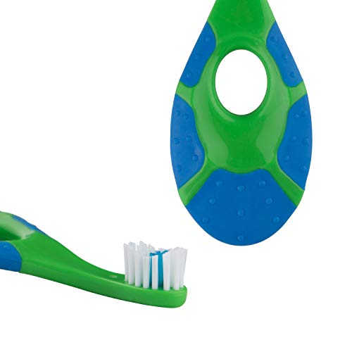 41wjvNHR6CL - Baby/Toddler Small Teether Toothbrushes 4-Pack, Oral Hygiene, Blue And Green