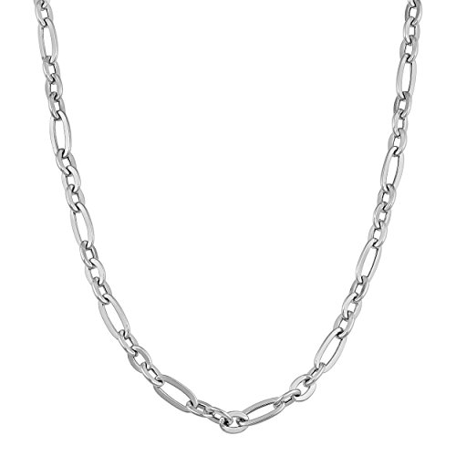 Kooljewelry 14k White Gold High Polish Alternate Link Chain Necklace (4.3 mm, 18 inch) ()
