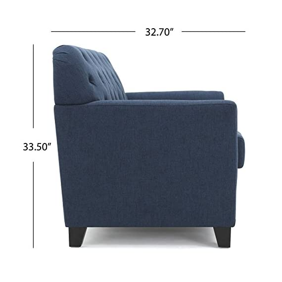 Christopher Knight Home Jennifer Dark Blue Tufted Fabric Loveseat - This Loveseat is ideal for smaller spaces. With extra padded Cushions for maximum comfort, and a Tufted Back, this Loveseat is both comfortable and stylish. The curved armrests provide a more ergonomic place to Rest against, both for sitting and resting against. You can't go wrong with this Loveseat for any room in your home. Includes: one (1) Loveseat Material: fabric. Leg Material: Birch - sofas-couches, living-room-furniture, living-room - 41wjvVkgBLL. SS570  -