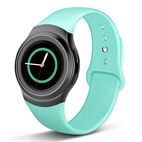 Compatible with Gear S2 Band, NAHAI Soft Silicone Straps Sport Bands Adjustable Replacement Wristband Watch Bracelet for Samsung Gear S2 Smartwatch, Large Small