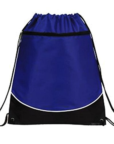 - Deluxe Cinch Drawstring Two Tone Backpack Bookpack Bag, Royal Blue by BAGS FOR LESS