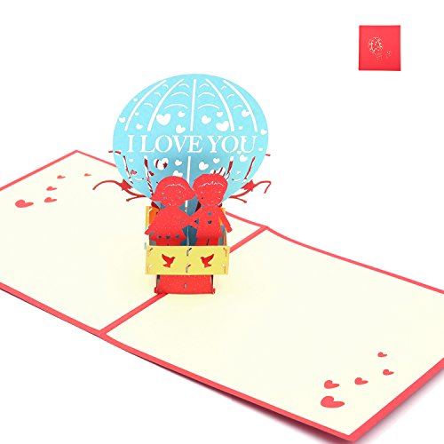 Valentine Day Pop Up Gifts Card, Hot-air Balloon with