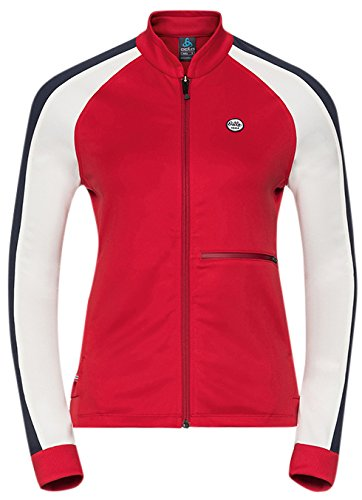 Odlo Berit Midlayer Full Zip Jacket damen - Chinese rot - Snow Weiß