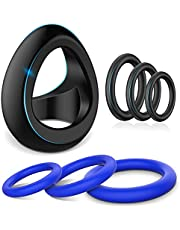 Silicone Penis Ring Set - SEXY SLAVE 7pcs Stretchy Cock Ring for Men Longer Lasting Erections, Sex Toys for Men or Couple