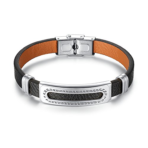 Aoiy Men's Stainless Steel Greek Key and Black Leather Bracelet, ggb012yi