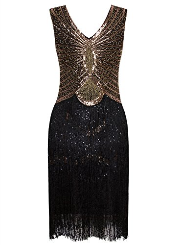 Inspired Vijiv 1920s Style Tassel Flapper Charleston Sequin Dress Cocktail Layer Gold Black rErqdCwp