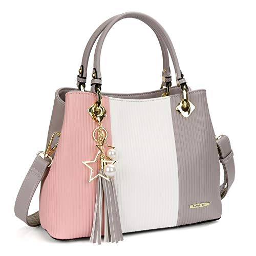 pink Light Leather for LadiesLight White Grey Faux for Elegant Top Handbag Bag for Shoulder Handbag A Large Women Bag Ladies Fashion Handbag Grey Black Handle Design Bag Tote White pqcRy46O