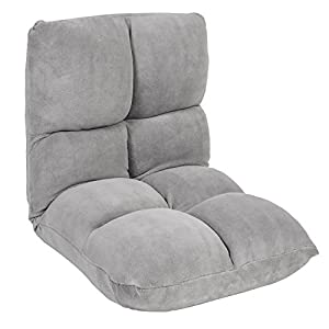 Best Choice Products 5-Position Folding Adjustable Memory Split Foam Cushioned Padded Gaming Floor Sofa Chair for Living Room, Bedroom - Gray