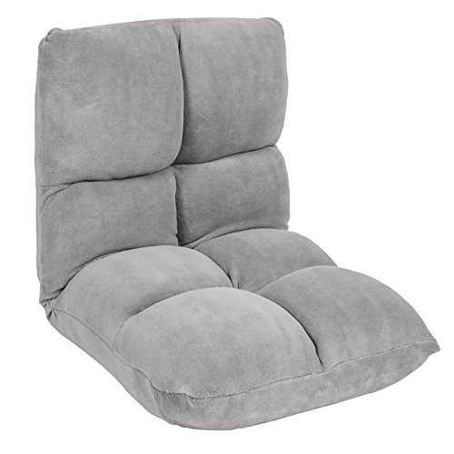 Best Choice Products 5-Position Folding Adjustable Memory Split Foam Cushioned Padded Gaming Floor Sofa Chair - Gray