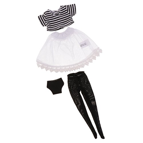 MonkeyJack Cute Striped T-shirt + Stockings Socks + Yarn Dress + Underpants Set for 12inch Neo Takara Blythe Dolls Accessories ()