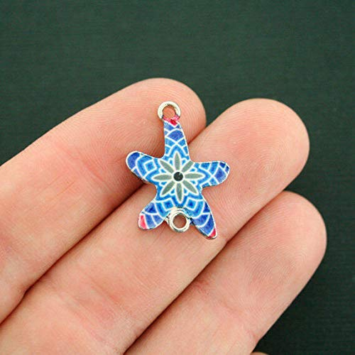Pendant Mosaic Collection - Extensive Collection of Charm 6 Starfish Connector Charms Silver Tone Enamel Blue Mosaic - E591 Express Yourself