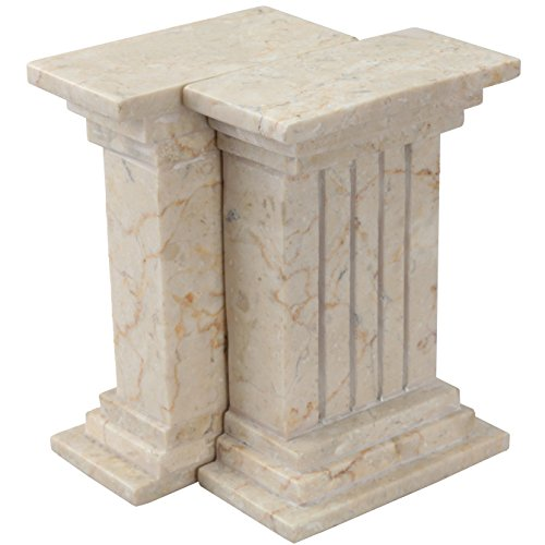 Creative Home Champagne Marble Stone Bookend Set, Column ()