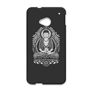 HTC One M7 Cell Phone Case Black Siddhartha Buddha White Halftone X8Y4N