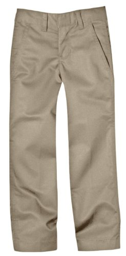 Dickies Little Boys' Uniform Flex Waist Flat Front Pant, Khaki, 5 ()