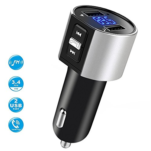 Car Charger, Bluetooth BT FM Transmitter Bluetooth Receiver with Microphone, Hands -Free Calling, 3.4A Dual USB Ports for iPhone,Samsung and Android,Supports Call Number Announcement,Last Call Redial