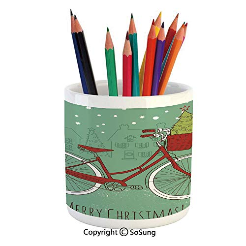 Printed Ceramic Pencil Pen Holder Case Box,Hand Drawn Vintage Bike with Small Xmas Tree House Silhouettes Snow Decorative Beautiful Stationery for Daily Use in Office,Classroom,Home,Gift Idea,Almond G ()