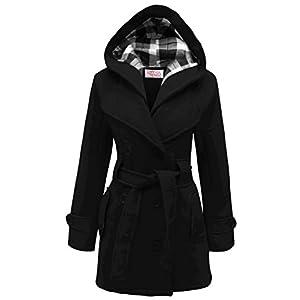 MyMixTrendz- Womens Warm Fleece Hooded Jacket With Belt Coat Top Plus Sizes 8-20 (M (UK 10 EU 38 US 6), Black)