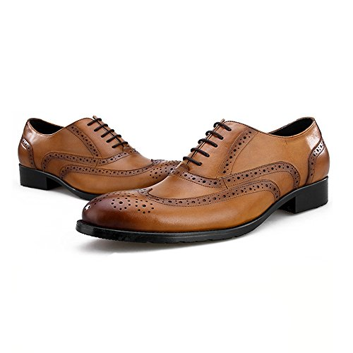 Business Dress Lace Brogue up Pelle da Oxford Vintage Casual Dress Brown Uomo Vera Wedding in Scarpe Shoes F8qzwv