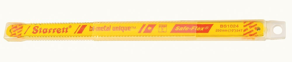 Starrett KBS1024-10 Bi-Metal Unique High Speed Steel Safe-Flex Hacksaw Frame Blade, 0.025'' Thick, 24 TPI, 10'' Length x 1/2'' Width (Pack of 10)
