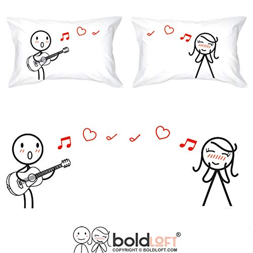 Stick Figure Wedding - BoldLoft Love Me Tender Couples Pillowcases for Him and Her|Cute Girlfriend Gifts for Christmas,Birthday,Anniversary,Valentine's Day|His and Hers Gifts for Couples|Romantic Gifts for Her