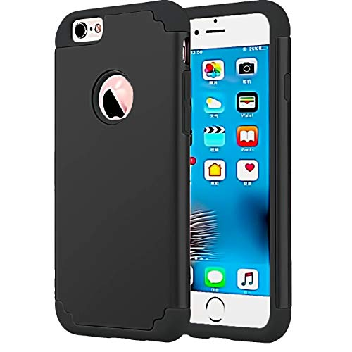 (Compatible with Regular 4.7 inch Apple iPhone 8 (2017 Release) / iPhone 7 (2016 Release), Slim Fit Hybrid Soft Silicone Hard Back Cover Anti Scratch Bumper Design Protective Case-Black)