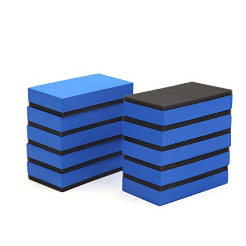 uxcell 10pcs Blue Foam Black Sponge Compound EVA Car Waxing Polishing Pads Buffing ()