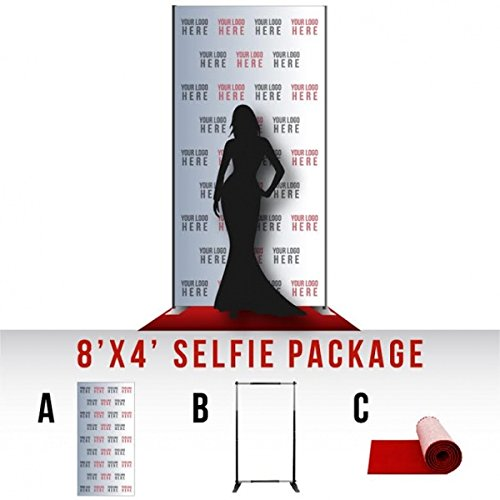 Step and Repeat LA Custom 8' x 4' Selfie Package, Vinyl Banner, Includes Stand and Red Carpet, Made in USA by Step and Repeat LA (Image #6)