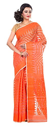 RLB Fashion Women's Cotton Silk Handloom Dhakai Jamdani Saree Free Size Orange by RLB Fashion