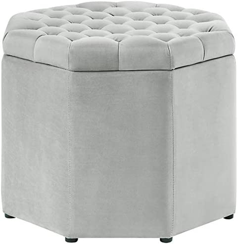Posh Living Adrian Button Tufted Velvet Storage Ottoman in Gray