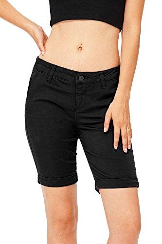 Hot Celebrity Pink Women's Juniors Mid Waist Cuffed Bermuda Shorts for cheap