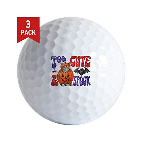 Golf Balls (Set of 3) Halloween Pumpkin Kitten -