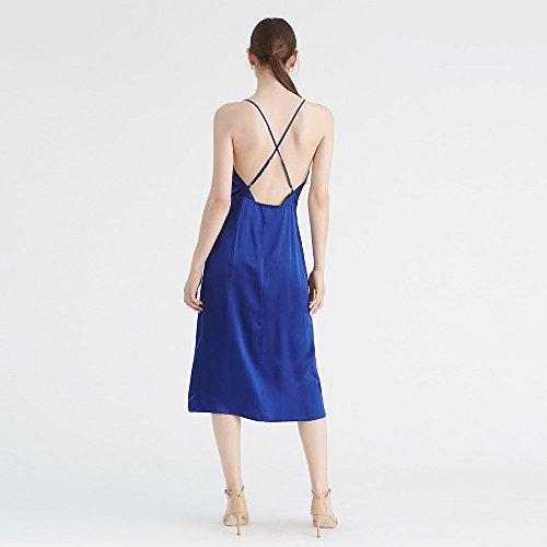 Seide Blau Midikleider Damen aus Royal Camikleider Seidenkleider Cocktailkleider LilySilk Kurz wgxzEqI0