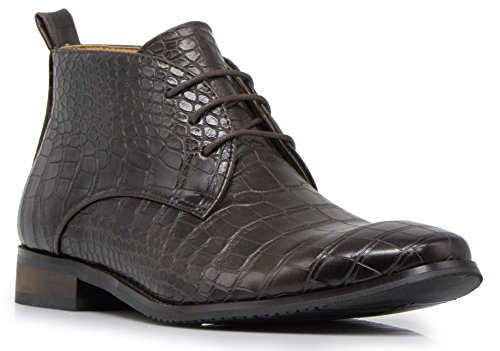 Enzo Romeo DF2 Men's Dress Boots Alligator Crocodile Print Chelsea Chukka Ankle Lace Up Fashion Short Boots (11 D(M) US, Coffee)
