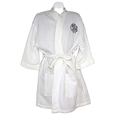 """Personalized Womens Knee Length 36"""" Waffle Weave Kimono Bathrobes One Size Fits Most Spa Robes"""