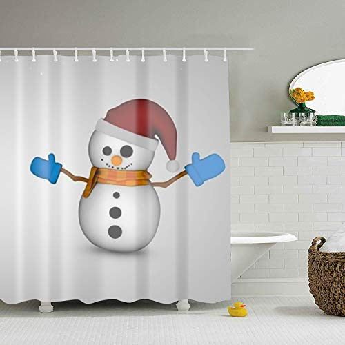Mweet Shower Curtain 3D Snowman Snow Christmas Waterproof Polyester Bath Curtain