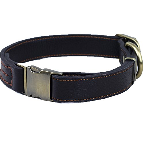 CHEDE Luxury Real Leather Dog Collar- Handmade For Medium And Large Dog Breeds With The Finest Genuine Leather-Best Quality Collar That Is Stylish ,Soft Strong And Comfortable-Black Dog Collar