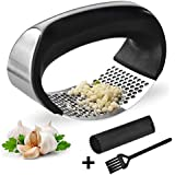 Audanny Garlic Press Rocker - Stainless Steel Garlic Mincer Crusher and Peeler