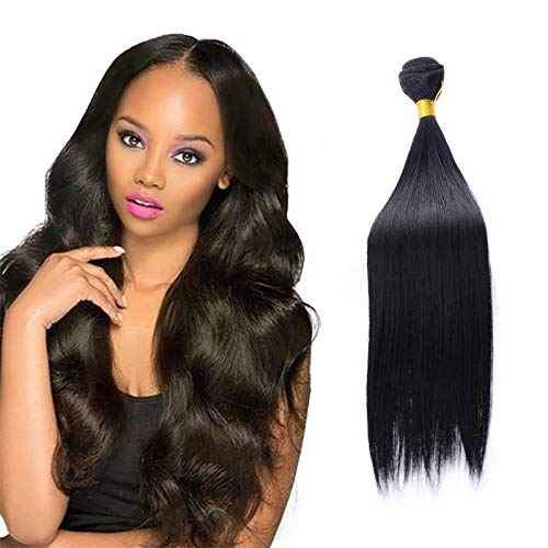 Natural Black Color Hair Extension-Body Wave Human Hair Bundles for Women, 16/18/20/22 Inch ,Brazilian Hair Wave Bundles, Synthetic Hair Extensions Hairpieces for Women (Black Straight Hair, 16in)