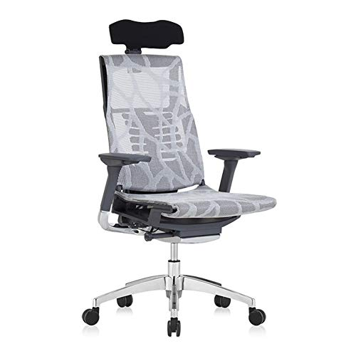 Asiento de escritorio de diseno ergonomico, silla con patas ajustables de aleacion de aluminio y reposabrazos giratorio ajustable en malla.