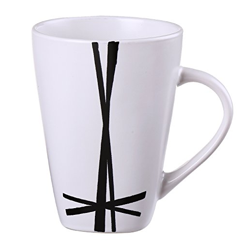 Dinner Mugs,Prakash White Ceramic Cup Morning Mug For Coffee And Milk 12 oz,Dishwasher And Microwave Safe