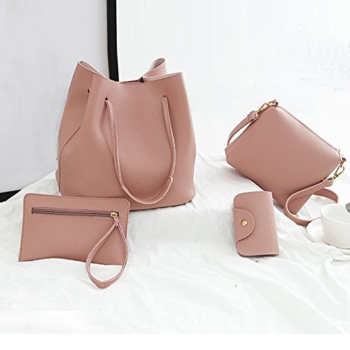 Card Sale Handbag Bag Messenger Bag Crossbody Clearance Pink Leather Women Pattern Sunday77 4Pcs Package rrPxYq