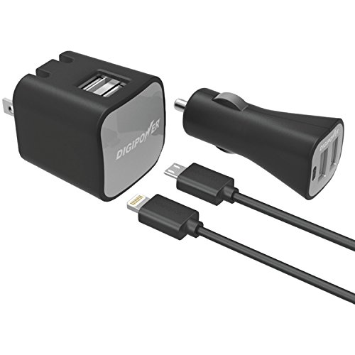 Digipower Instasense Dual-Port USB Car Charger and Dual-Port USB Wall Charger with Lightning and Micro USB Cables - Retail Packaging - Black