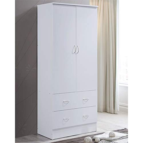 Pemberly Row 2 Door Armoire with 2 Drawer in White