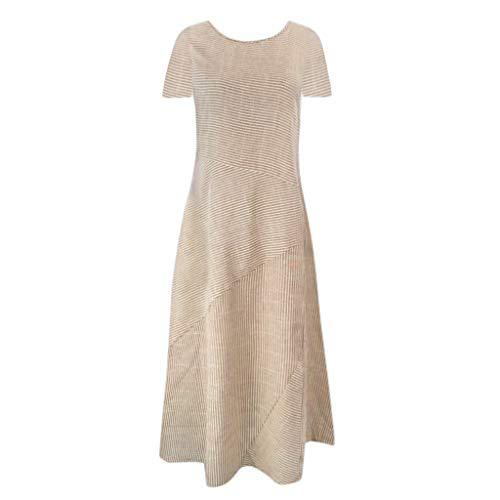 YKARITIANNA 2019 Women Casual Striped Short Sleeve Dress Crew Neck Linen Pocket Long Dress Khaki