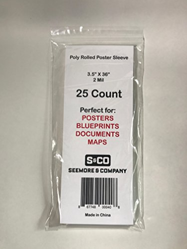 "Poly Rolled Poster or Map Sleeve 3.5"" X 36"" 2 mil - 25 ct package from SeemoreandCo."