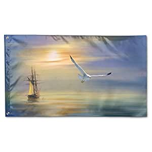 Home Garden Flags Seagull Surrealism Paintings Polyester Flag Indoor/Outdoor Wall Banners Decorative Flag Garden Flag 3' X 5'