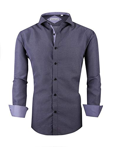 Mens Long Sleeve Printed Dress Shirts Casual Button Down Regular Fit Men Shirt (long-grey01 M